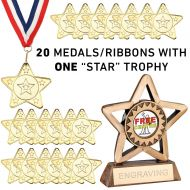 Pack 20 x Star Of The Week Medals, Ribbons and Trophy