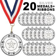 Pack 20 x 50mm Junior Sports Silver Medals with Red White and Blue Ribbons Kids Party