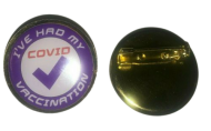 Ive Had my Vaccination Jab Lapel Purple Pin Badge 25mm 1 inch