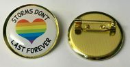 Storms Don't Last For Ever Heart Rainbow Thank You Lapel Pin Badge 25mm 1inch
