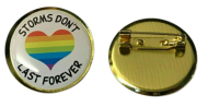 Storms Don&;t Last For Ever Heart Rainbow Thank You Lapel Pin Badge 25mm 1inch