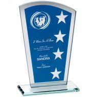 Blue/Silver Printed Glass Shield Wreath/Star Design - 7.25in
