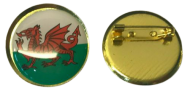 "CYMRU / WALES - Welsh Flag Lapel Pin Badges 25mm 1"" The Red Dragon"