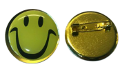 Yellow Smiley Face 25mm 1 inch Lapel Pin Badge New UK 2021 Happy Rave House